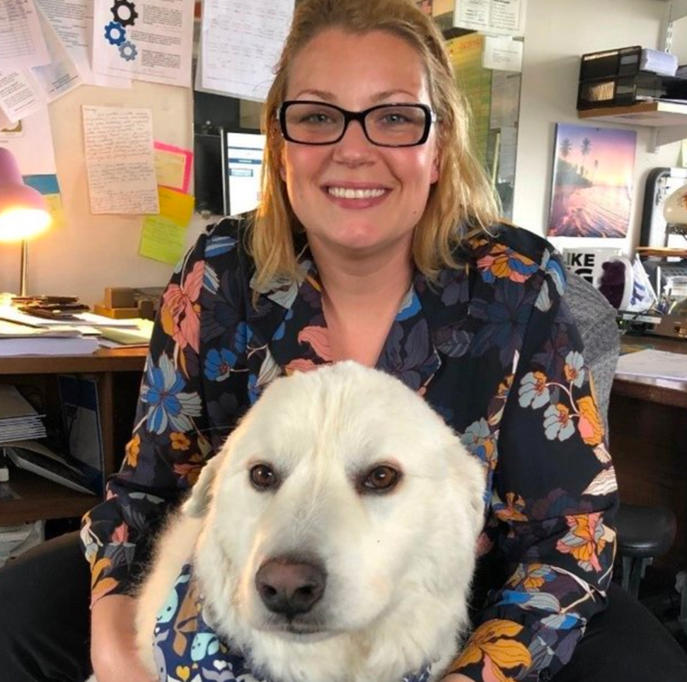 Candace Hawkins with Willow at Lakeside Memorial Funeral Home in West Seneca, N.Y. (photo courtesy Lakeside Memorial Funeral Home)